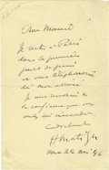 "Autographs:Artists, Henri Matisse Autograph Letter Signed ""H Matisse"". One page, 5"" x 8"", no place, March 22, 1946, in French, to a friend s..."
