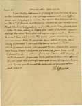 "Autographs:U.S. Presidents, Thomas Jefferson Autograph Letter Signed ""Th: Jefferson,"" one page, 7.5"" x 9.75"". Monticello, April 20, 1821. In full, a..."
