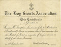 """Autographs:Celebrities, Robert Baden-Powell Boy Scouts Association Medal of Merit Certificate Signed in full as Chief Scout. One page, 9.75"""" x 7.5"""",..."""