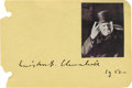 "Autographs:Non-American, Winston Churchill Signature. One page, 5.75"" x 4"", album page,signed boldly ""Winston S. Churchill 1952"" below a 2"" x 2...."