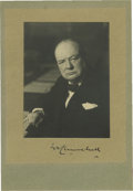 "Autographs:Non-American, Sir Winston Churchill Photograph Signed ""W Churchill"". AB&W photograph of 3"" x 3.75"" on a cardboard mount of 4.5"" x6.5..."