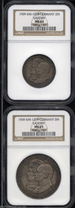 German States:Saxony, German States: Saxony. Leipzig University Commemorative pair as follows: 2 Mark 1909, KM1268, MS64 NGC; and a 5 Mark, 1909, KM1269, MS65 NG... (Total: 2 coins Item)