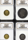 Great Britain: , Great Britain: George IV Proof set 1821. Laureate head. Anextremely rare item that appears to be an intact, original set, asthe toning ma...