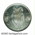 Ireland: , Ireland: Republic halfcrown 1943, Harp/Horse, S-6625, KM16 (although for some unknown reason KM left this date out of the catalog), A...