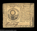 Colonial Notes:Continental Congress Issues, Continental Currency May 10, 1775 $30 New. One corner is ...
