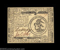 Colonial Notes:Continental Congress Issues, Continental Currency July 22, 1776 $3 Very Choice New. A ...
