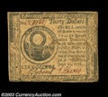 Colonial Notes:Continental Congress Issues, Continental Currency July 22, 1776 $30 Choice Very Fine. ...