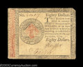 Colonial Notes:Continental Congress Issues, Continental Currency January 14, 1779 $80 Extremely Fine. ...