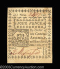 Colonial Notes:Connecticut, Connecticut October 11, 1777 4d Choice New. This is the ...