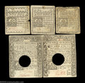 Colonial Notes:Connecticut, Five Connecticut Notes. Three small change cancelled white ... (5notes)