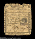 Colonial Notes:Massachusetts, Massachusetts 1779 3s Very Good. Torn vertically and ...