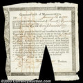 Colonial Notes:Massachusetts, Massachusetts Six Percent Treasury Certificate. Listed as ...