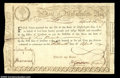 Colonial Notes:Massachusetts, Massachusetts January 1780 Treasury Certificate Extremely ...
