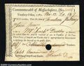 Colonial Notes:Massachusetts, Massachusetts Import & Excise Certificate Extremely Fine. ...
