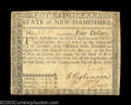 Colonial Notes:New Hampshire, New Hampshire $4 April 29, 1780 Very Fine. Uncanceled, and ...