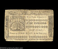 Colonial Notes:New York, New York September 2, 1775 $5 Fine. Perfect for the grade ...