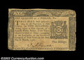 Colonial Notes:New York, New York March 5, 1776 $1/4 Very Fine. Closely margined ...