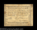 Colonial Notes:New York, New York City February 20, 1790 1d Very Fine. A very nice ...