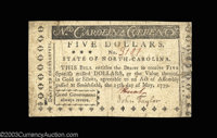 North Carolina May 15, 1779 $5 Very Fine. From the point of circulation, this note is in far higher grade, but there are...
