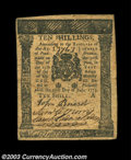 Colonial Notes:Pennsylvania, Pennsylvania July 20, 1775 10s Very Fine-Extremely Fine. ...