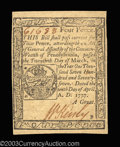Colonial Notes:Pennsylvania, Pennsylvania April 10, 1777 4d Gem New. A lovely note, ...