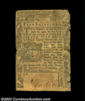 Colonial Notes:Rhode Island, Rhode Island May 3, 1775 5s Fine. Tape reinforced on the ...