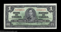 Canadian Currency: , Two Consecutive BC-21a $1 1937. One note grades