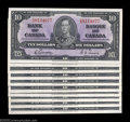 Canadian Currency: , Ten Consecutive BC-24b $10 1937 Gem Crisp Uncirculated. ... (10 notes)
