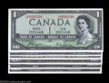 Canadian Currency: , Seven Piece Devil's Face 1954 Matching Serial Number Set BC-... (7notes)
