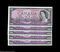 Canadian Currency: , Five Consecutive BC-32b Devil's Face $10 1954 Choice Crisp ... (5notes)