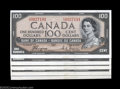 Canadian Currency: , Five Consecutive BC-35a Devil's Face $100 1954 Choice About ... (5 notes)