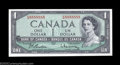 Canadian Currency: , BC-37b-i $1 1954 Solid Serial Number Crisp Uncirculated. ...