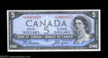 Canadian Currency: , BC-39a-i $5 1954 Asterisk Replacement Note Gem Crisp ...