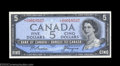 Canadian Currency: , BC-39aA $5 1954 Asterisk Replacement Note Choice Crisp ...