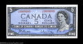 Canadian Currency: , Fancy Serial Number Pair BC-39b $5 1954. The last two ... (2 notes)