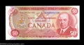 "Canadian Currency: , BC-51bA $50 1975 ""X"" Replacement Note Gem Crisp Uncirculated...."