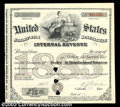 "Miscellaneous:Other, 1885 I.R.S. Tobacco Stamp. This large (7""x 8"") I.R.S. ..."