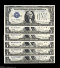 Error Notes:Inverted Reverses, Fr. 1601 $1 1928A Silver Certificates. Cut Half Sheet of Six....