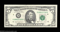 Error Notes:Inverted Third Printings, Fr. 1980-D $5 1988A Federal Reserve Note. Gem Crisp ...