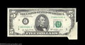 Error Notes:Foldovers, Fr. 1974-C $5 1977 Federal Reserve Note. About Uncirculated.