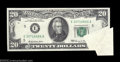 Error Notes:Foldovers, Fr. 2067-E $20 1969 Federal Reserve Note. About Uncirculated....