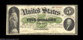 Fr. 2 $5 1861 Demand Note Very Fine. A solid and good-looking Demand Note, problem-free save for a small repaired tear a...