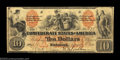 Confederate Notes:1861 Issues, T22 $10 1861. This beautiful red and black Southern Bank ...