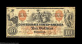 """Confederate Notes:1861 Issues, T22 $10 1861. A very pretty """"Indian Family"""" note, fully ..."""
