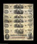 Confederate Notes:1862 Issues, Six T41 $100s 1862. A nice group of a half-dozen examples ... (6notes)