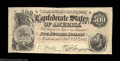 Confederate Notes:1864 Issues, T64 $500 1864. Problem-free and very close to the full XF ...