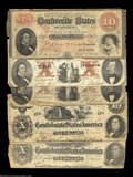Confederate Notes:Group Lots, Five Confederate $10s. A T24, two T26s (both with sold red ... (5 notes)