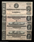 Confederate Notes:Group Lots, Four High Grade Confederates.