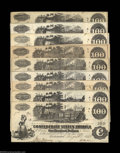 Confederate Notes:Group Lots, Nine CSA Train Notes. Six T39 1862 $100s and three T40 ... (9notes)