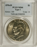 Eisenhower Dollars: , 1976-D $1 Type One MS66 PCGS. PCGS Population (189/2). NGC Census: (167/6). Mintage: 21,048,710. Numismedia Wsl. Price: $20...